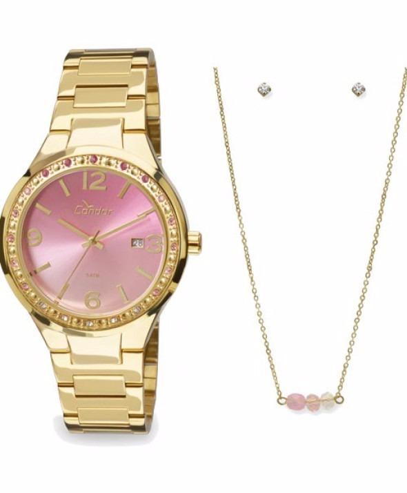 14d67ec4ea698 Kit Relógio Feminino Condor Com Colar E Brincos - R  230,00 em ...