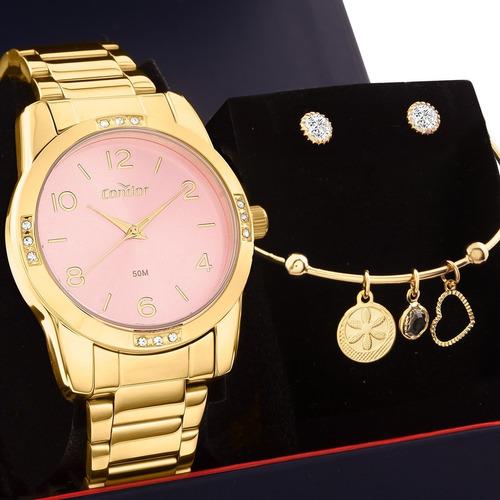 kit relógio feminino condor com semi joias co2035koe/k4t