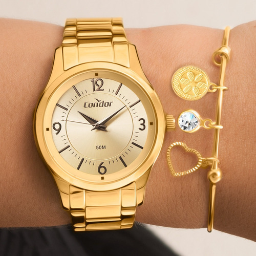kit relógio feminino condor com semi joias co2036kvl/k4d