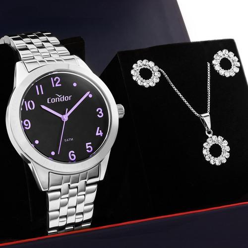 kit relógio feminino condor prata com colar e brincos