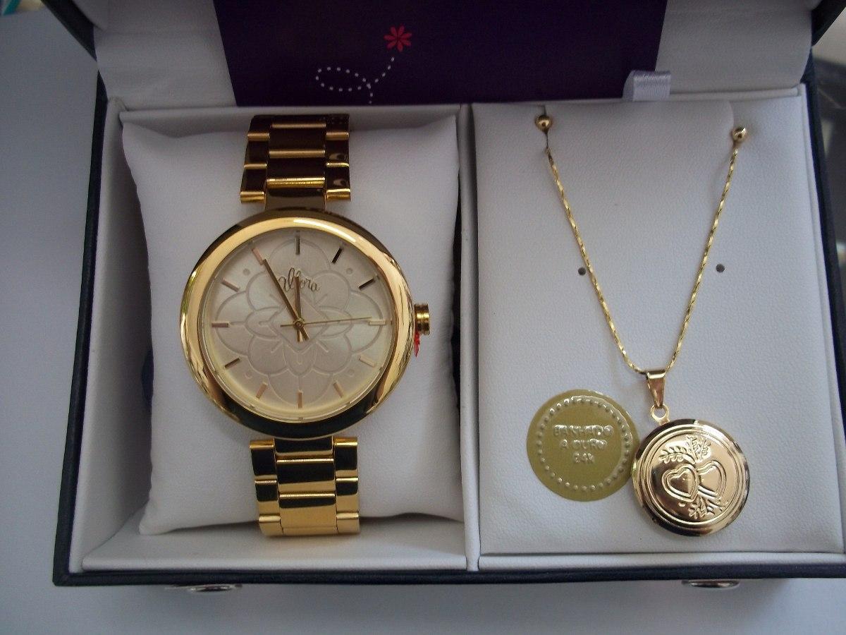 4fa31f676cd kit relógio feminino dourado allora com conjunto folheado. Carregando zoom.