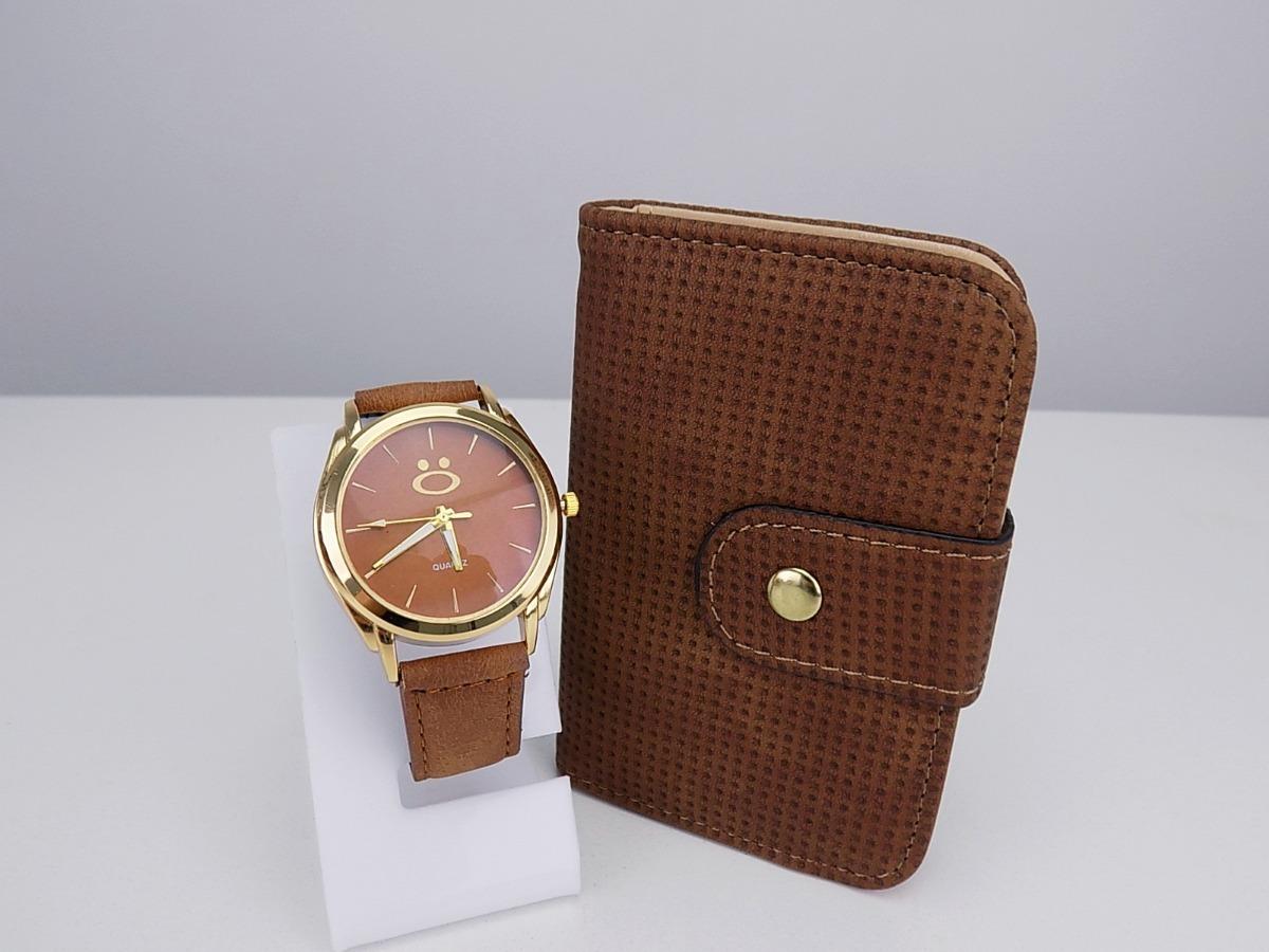 e200a5a019c kit relógio feminino dourado + carteira barato 100% original. Carregando  zoom.