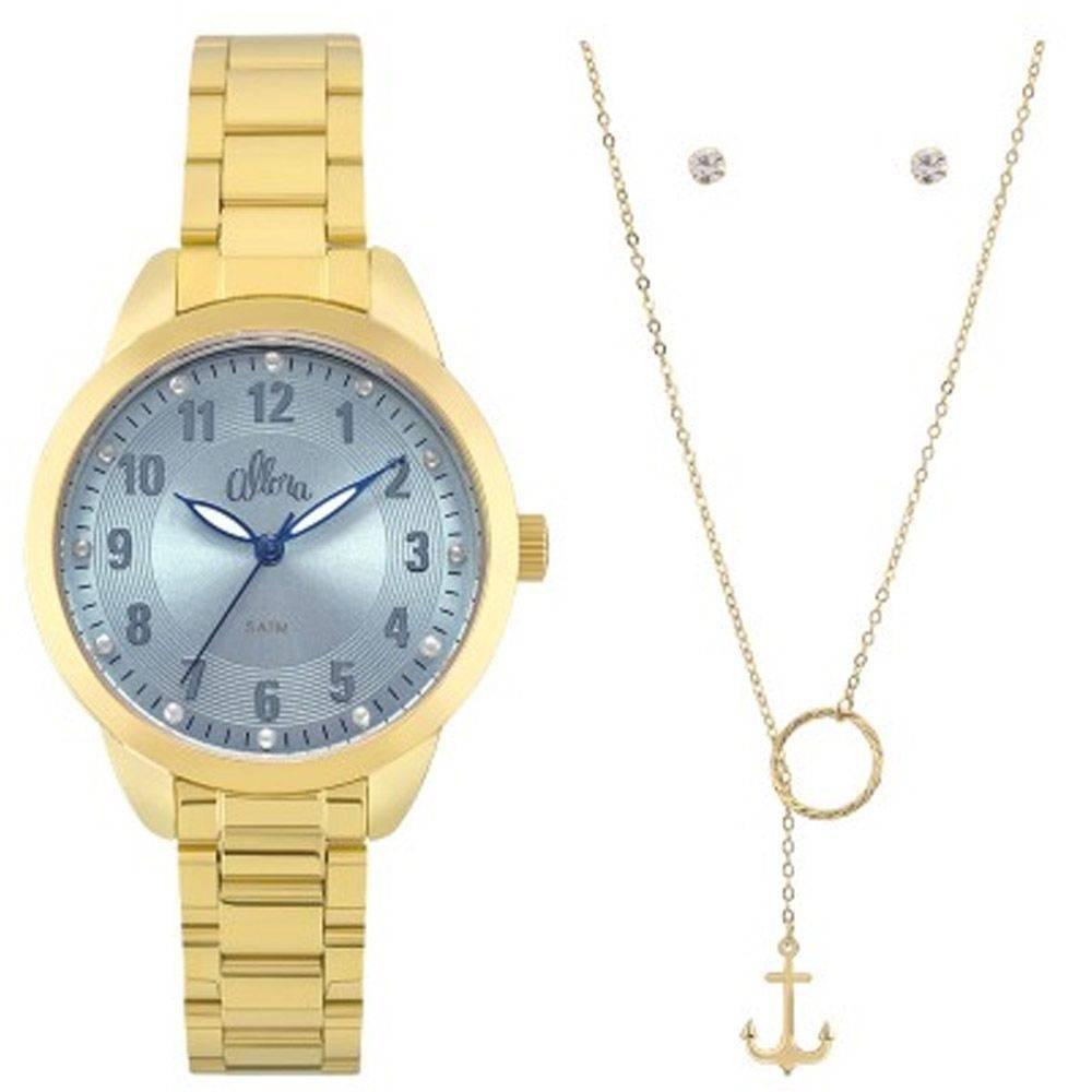 a13ccbed12263 kit relógio feminino dourado colar brincos allora al2035fku. Carregando zoom .