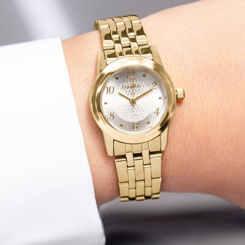 kit relógio feminino dourado colar e brincos co2035kpe/k4k