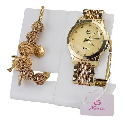 kit relógio feminino dourado+pulseira promoção 100% original