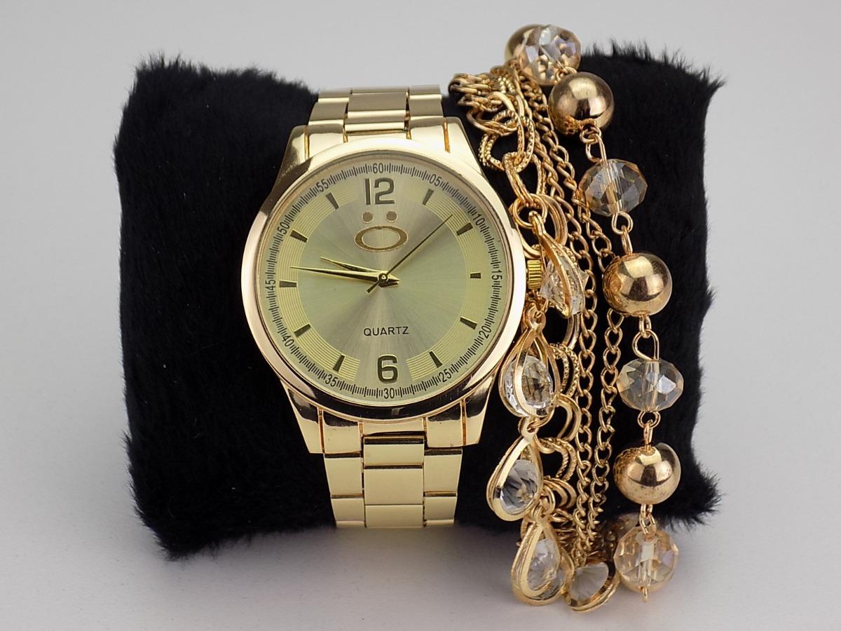 fd22229fbce11 kit relógio feminino dourado+pulseira promoção 100% original. Carregando  zoom.