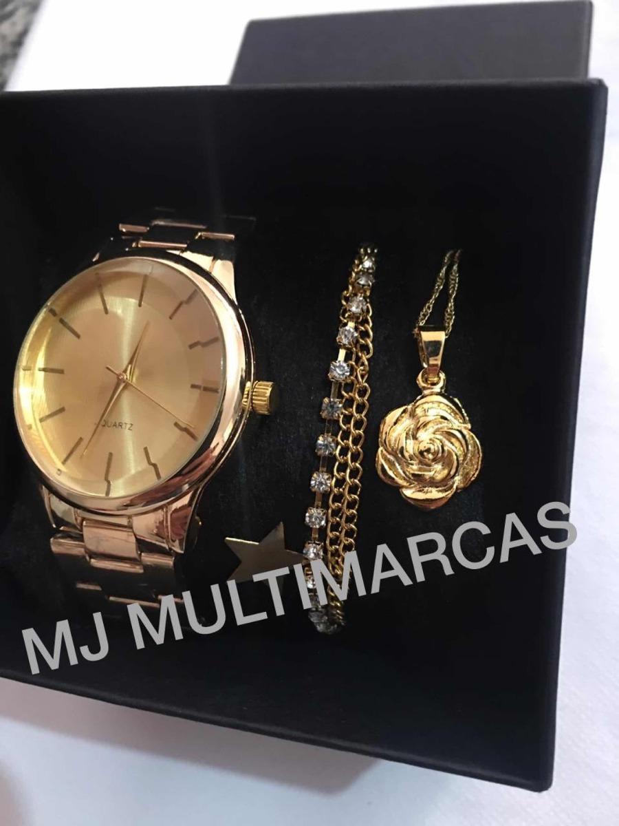fd66b01cee8 Kit Relógio Feminino Luxo+colar+pulseira Oferta! - R  45
