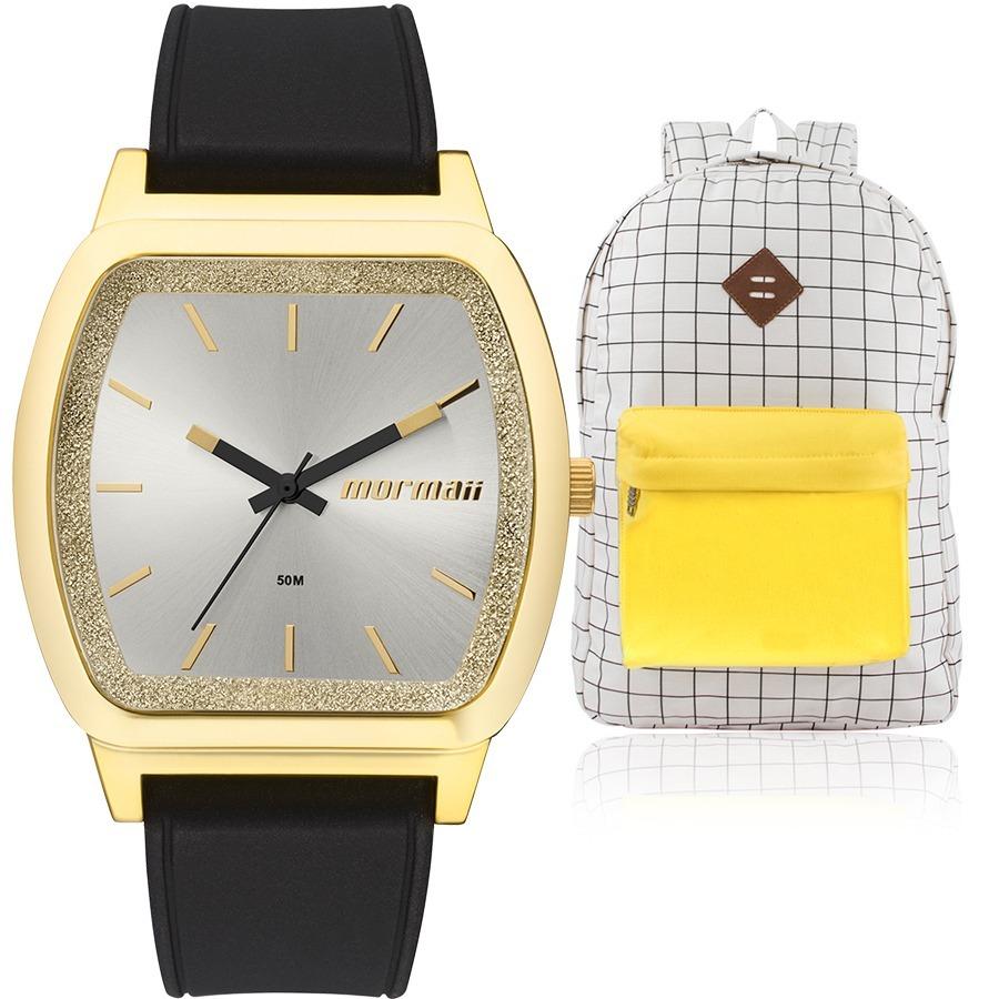84e0b2f58d9f8 kit relógio feminino mormaii preto dourado + mochila vintage. Carregando  zoom.