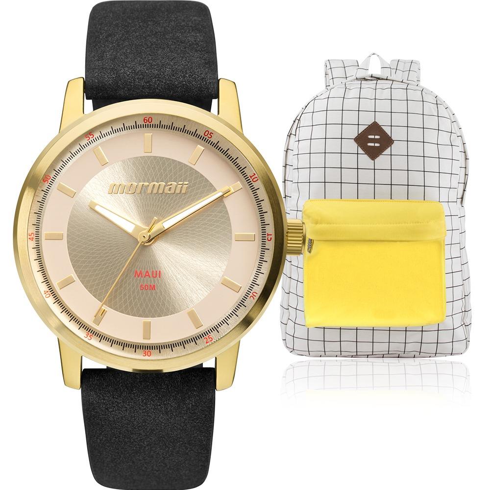 kit relógio feminino mormaii preto dourado + mochila vintage. Carregando  zoom. e11fe149c1