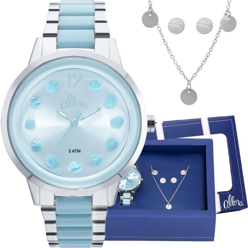 213667aeec247 kit relógio feminino prata brinde colar+brinco al2039at k3a. Carregando  zoom.