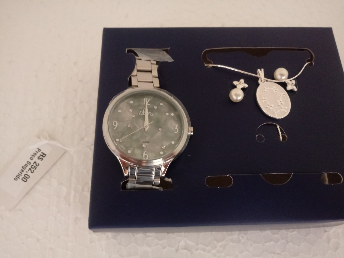 e982509de kit relógio feminino prata colar brincos allora al2036fifk3g. Carregando  zoom.