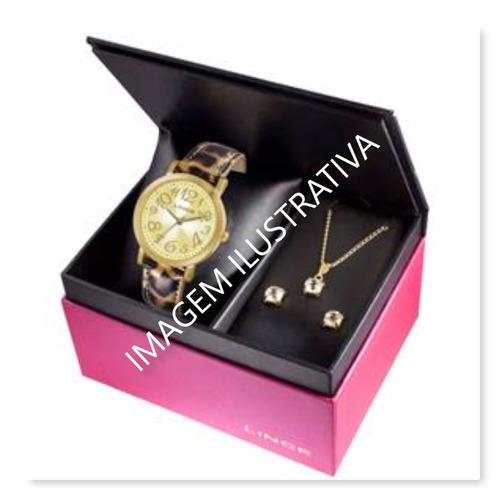 kit relógio feminino pulseira couro lince+semi jóia
