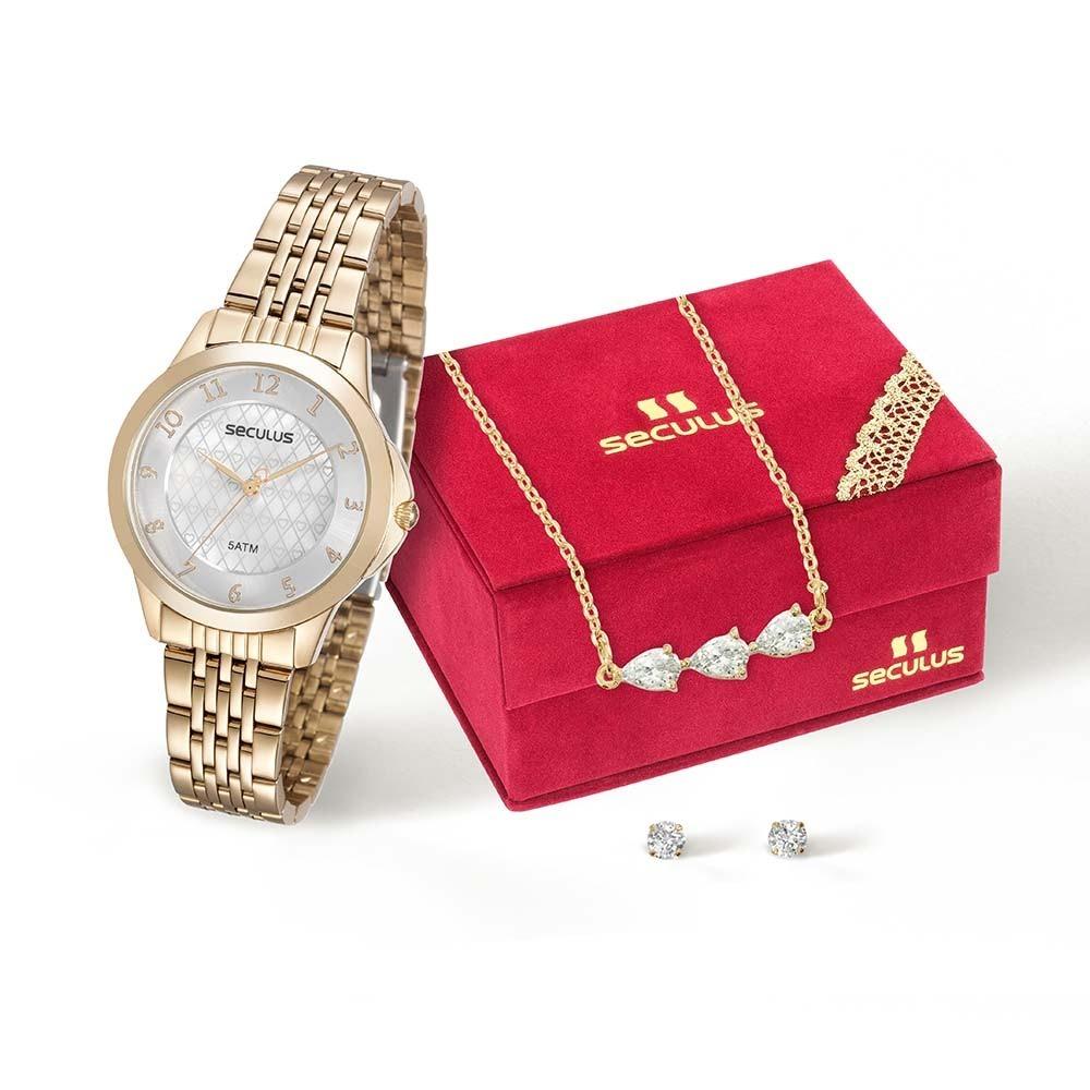 1ed56fd6a0b kit relógio feminino seculus analógico dourado 20482lpskds1k. Carregando  zoom.