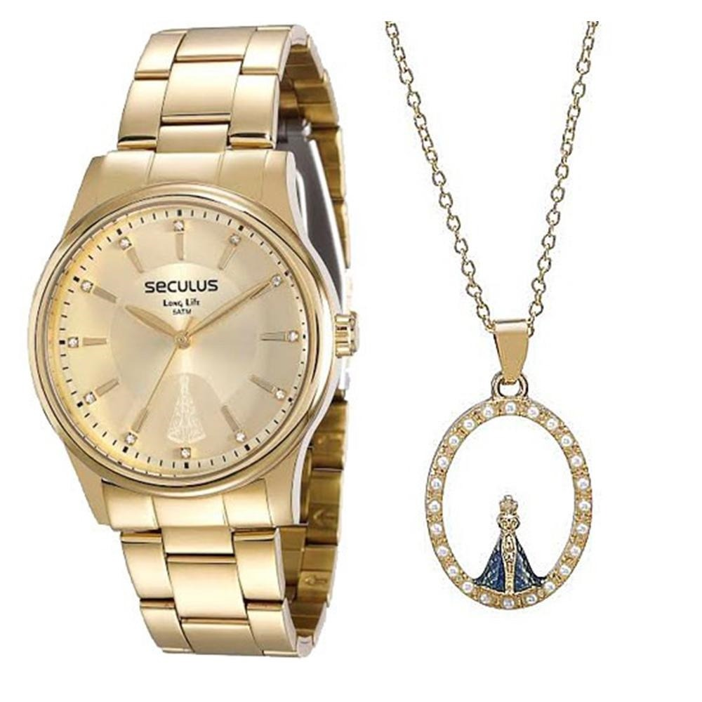 338102cd13f kit relógio feminino seculus + colar e pingente nossa senhor. Carregando  zoom.