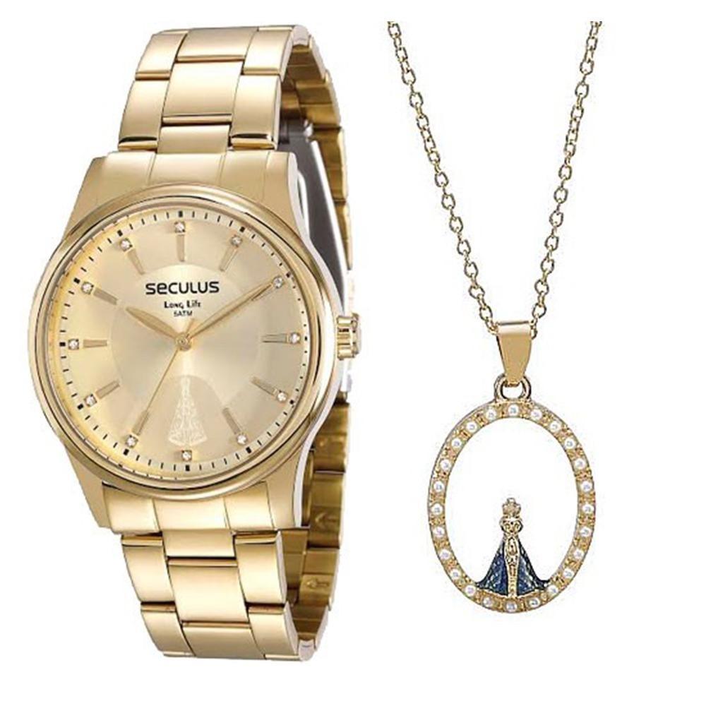 c75b19d3c2f kit relógio feminino seculus + colar e pingente nossa senhor. Carregando  zoom.