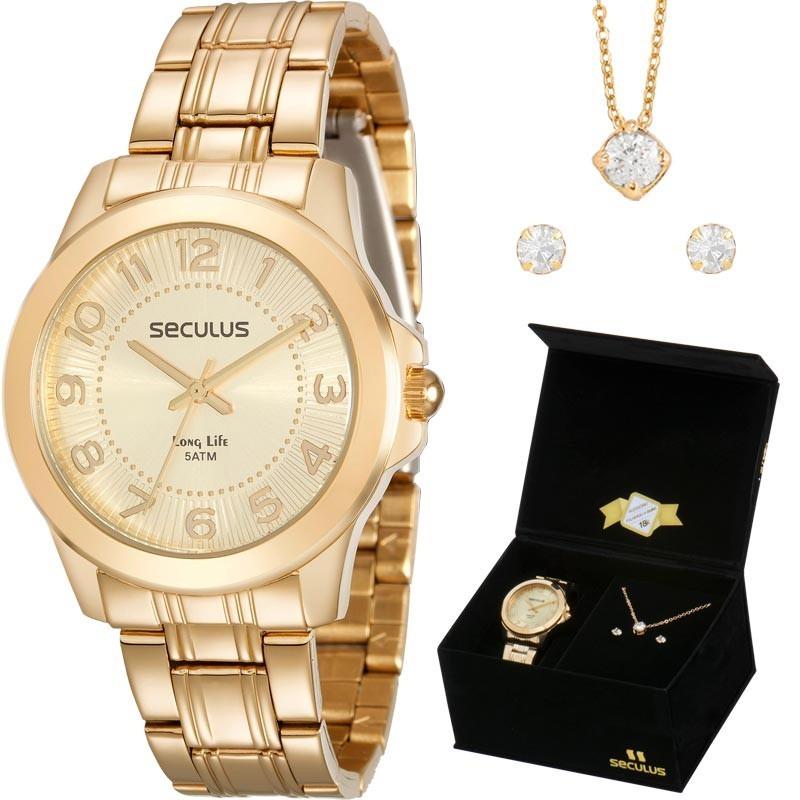 95e24afdb98 kit relógio feminino seculus dourado 28877lpsvda1k1 - loja. Carregando zoom.