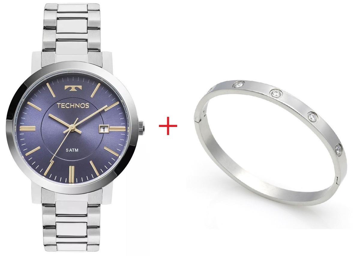 c849fb1a14d kit relógio feminino technos com bracelete prata 2115kzy 3a. Carregando  zoom.
