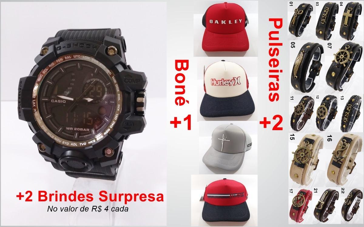 9946f660492 Kit Relógio G-shock Preto Á Prova D agua + Boné + 2 Pulseira - R ...