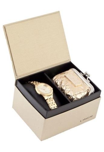 kit relógio lince feminino com porta níquel lrg4369l k182s2k