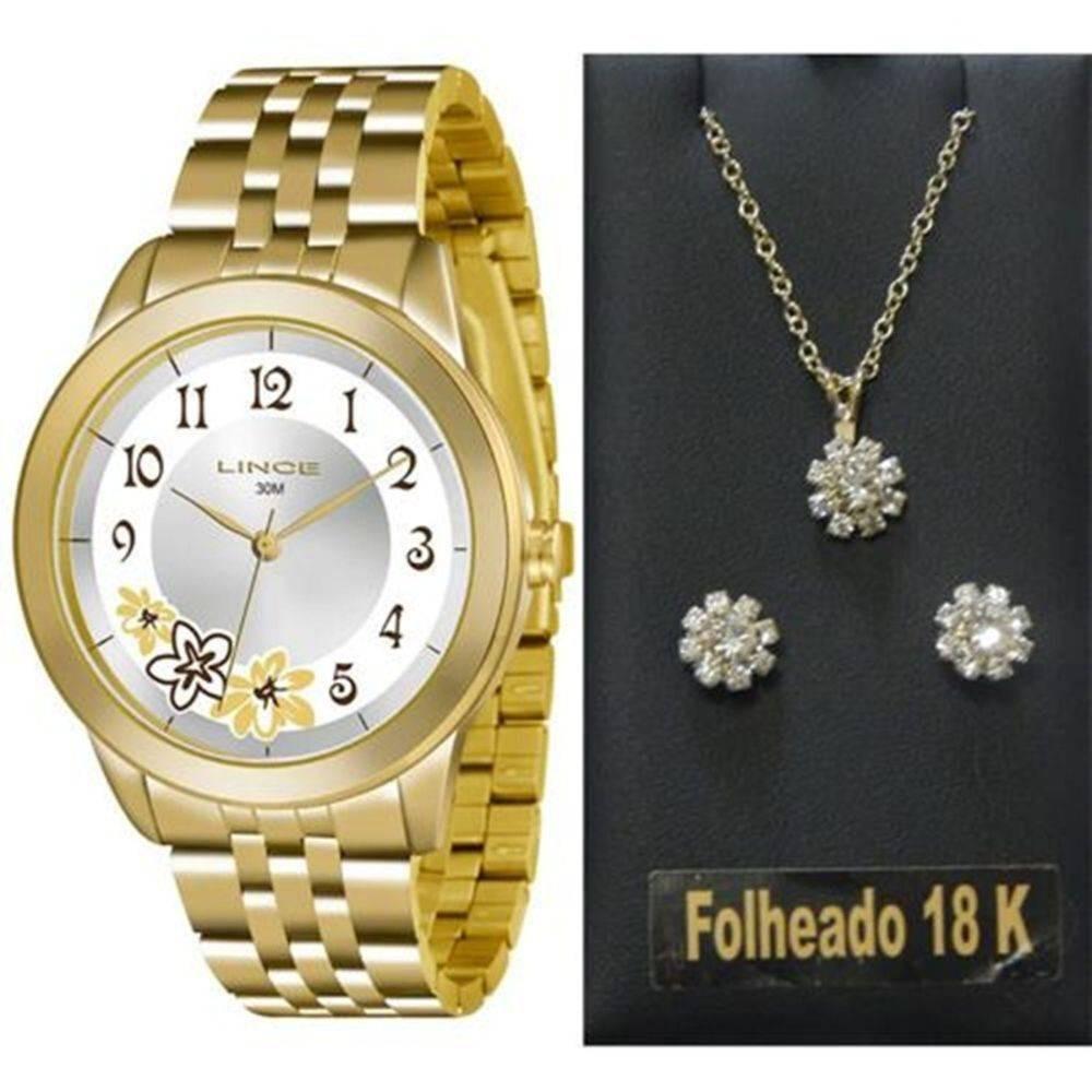 790613bc02d kit relógio lince feminino dourado 30 m lrgj053l k177 - loja. Carregando  zoom.