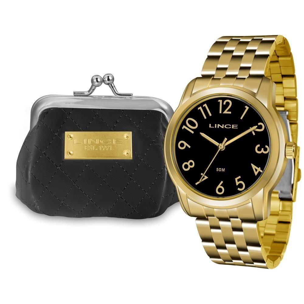 7742aa0b9a4 Kit Relógio Lince Feminino Dourado Visor Preto Lrg4456l Kt74 - R ...