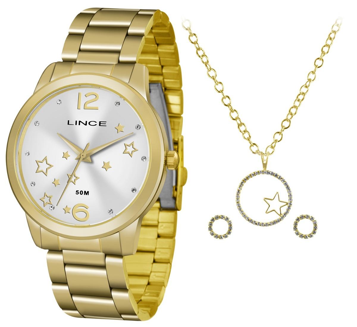 dadef93c06c Kit Relógio Lince Feminino Lrgh092lkv70 + Colar E Brincos - R  204 ...
