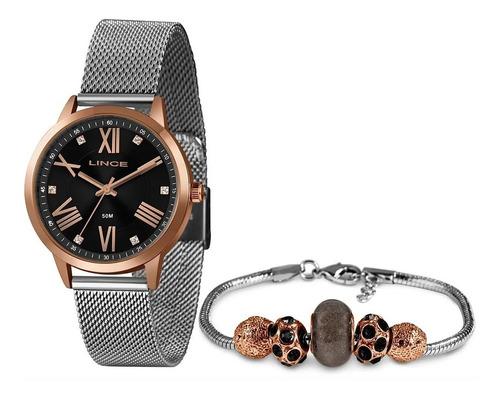 kit relógio lince feminino rose e prata + pulseira original