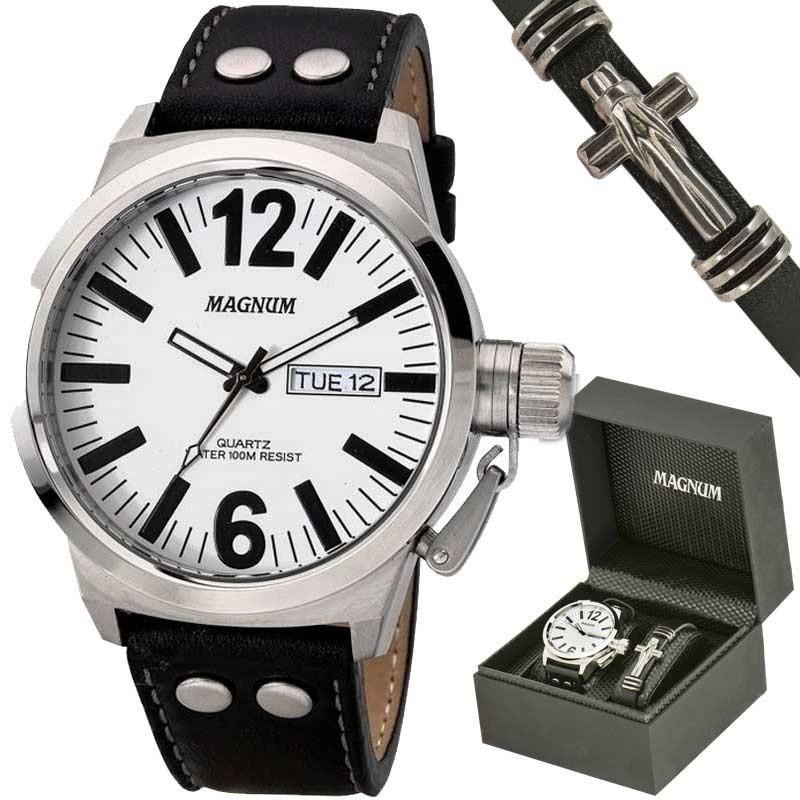 86edcda6b27 kit relógio magnum masculino com pulseira ma31524d. Carregando zoom.