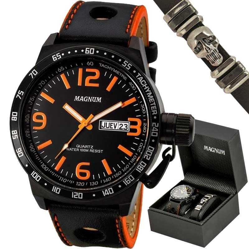 85d0346d4a7 kit relógio magnum masculino com pulseira ma31542c. Carregando zoom.