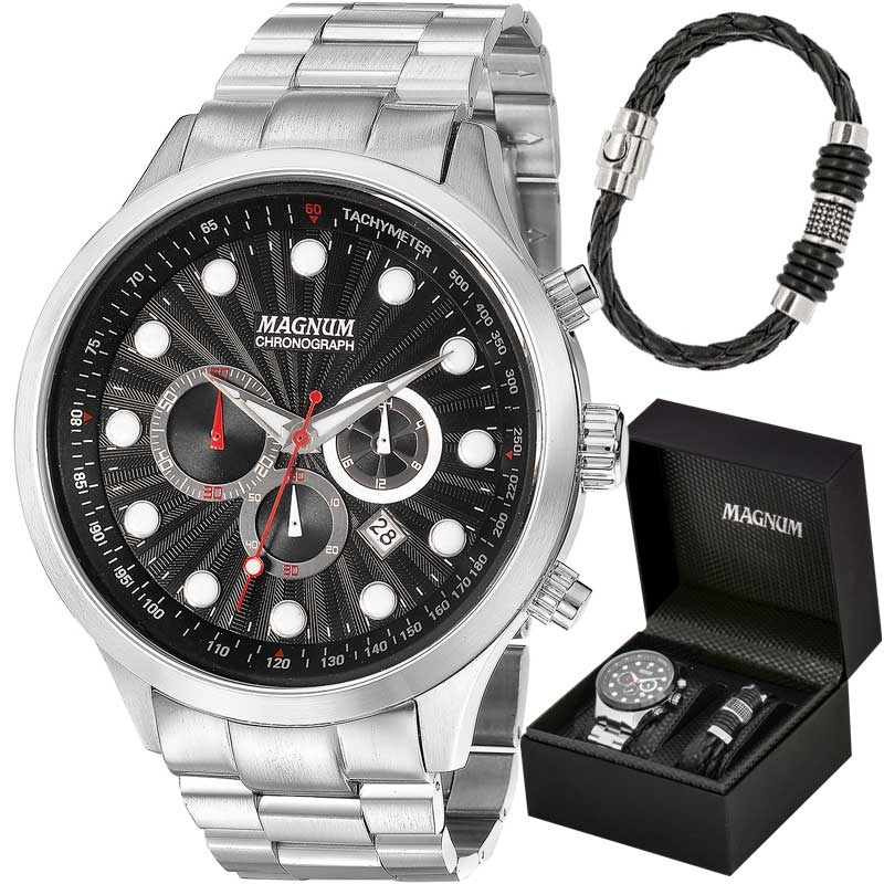 3aff4d60d8e kit relógio magnum masculino com pulseira ma32569c. Carregando zoom.
