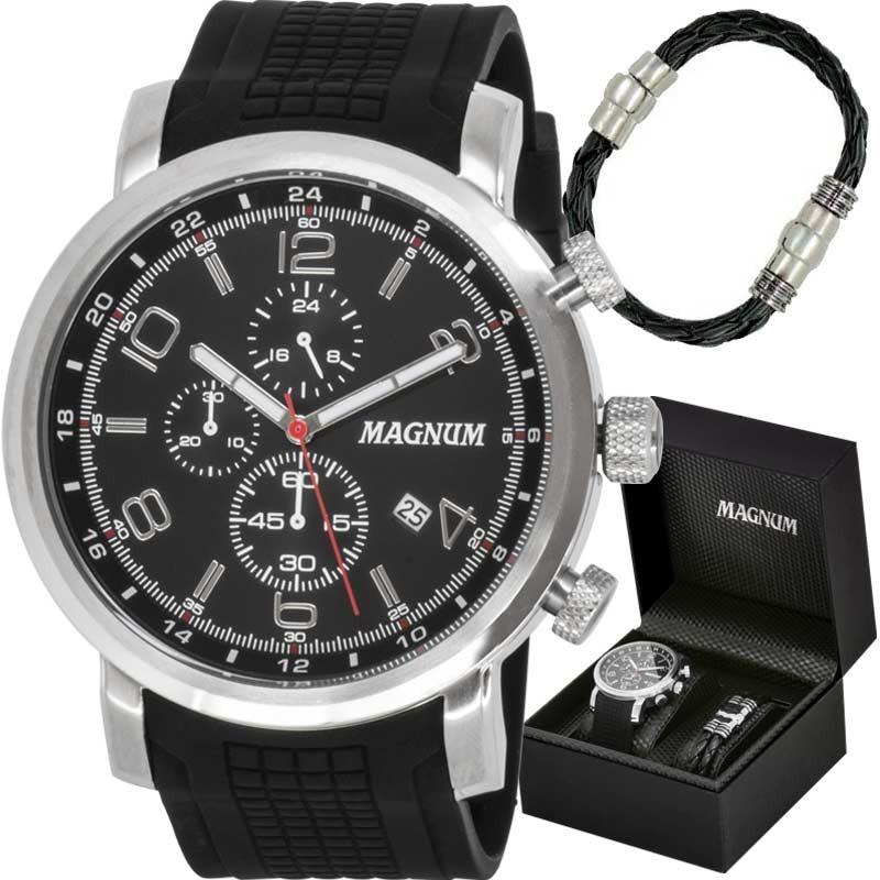 daad0f8c4b5 kit relógio magnum masculino com pulseira ma34334c. Carregando zoom.