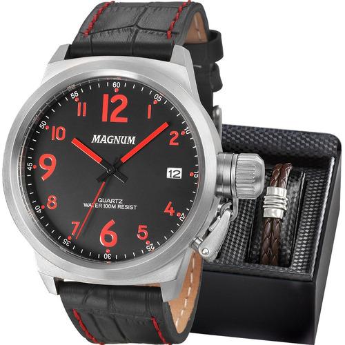 kit relógio magnum masculino com pulseira original ma33442z