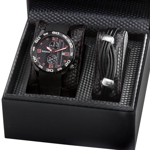 kit relógio magnum masculino com pulseira original ma34898z