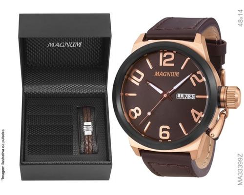 kit relógio magnum masculino military cobre ma33399z com nf