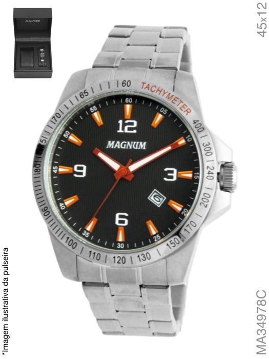 cdc2af226ad Kit Relógio Magnum Masculino Prata Ma34978c - R  299