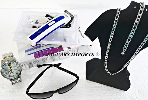 kit relógio masculino+ barbeador eletri+correntinha+óculos