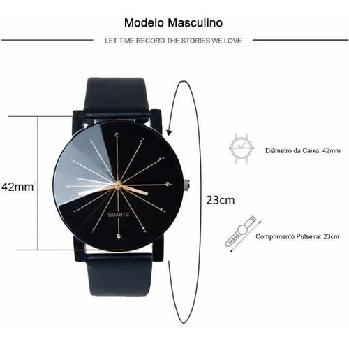 kit relógio masculino e feminino quartz social pulseira luxo