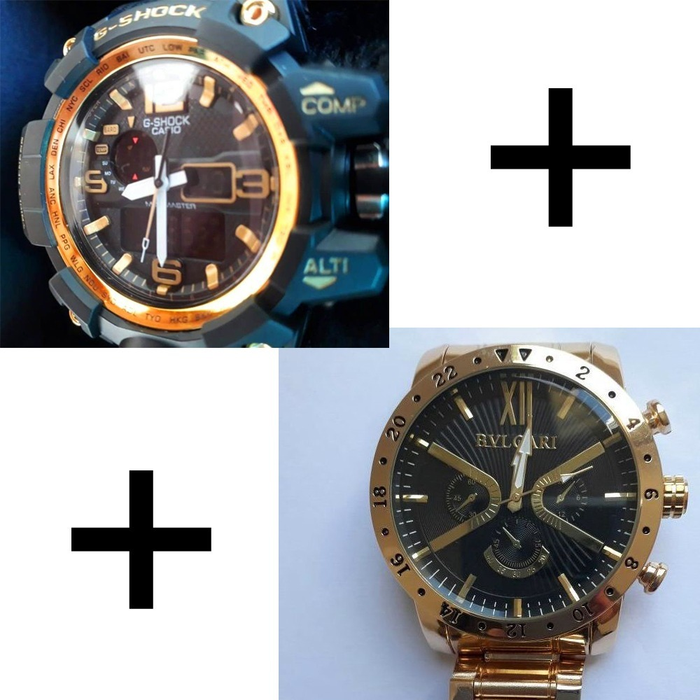 0e898392812 kit relógio masculino gshock + relógio dourado mega oferta! Carregando zoom.