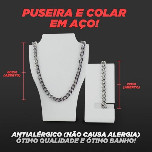 kit relógio masculino orizom + colar + pulseira c/ garantia