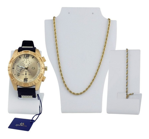 kit relógio masculino orizom + colar + pulseira original
