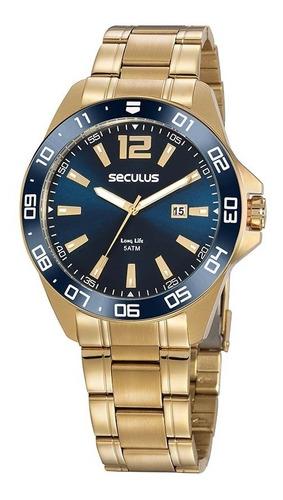 kit relógio masculino seculus dourado 20809gpsvda2