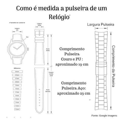 kit relógio masculino seculus maçonaria 28973gpskda1 c/ nfe