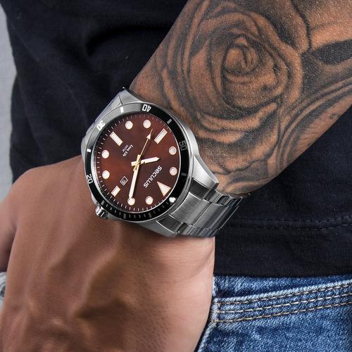kit relógio masculino seculus original com garantia e nfe