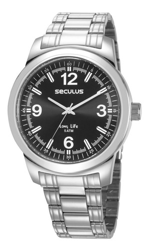 kit relógio masculino seculus prata 23639g0svna1k1
