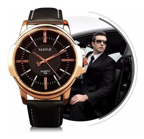 kit relógio masculino yazole 358  + pulseira cruz em aço