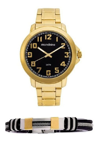 kit relógio mondaine dourado fundo preto acompanha pulseira 99268gpmvde1k1 - com garantia e nota fiscal