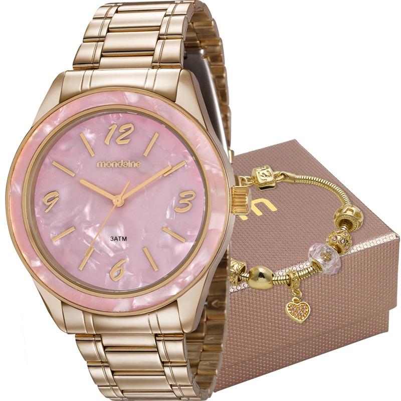 1a9f643c5f6 Kit Relógio Mondaine Feminino Com Pulseira 99277lpmkde1k1 - R  215 ...