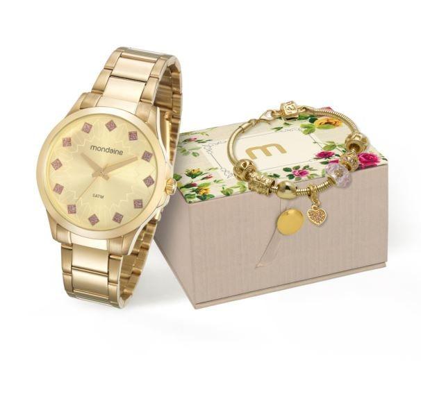 c7875a666f8 Kit Relógio Mondaine Feminino + Pulseira 53549lpmkde2k1 - R  179