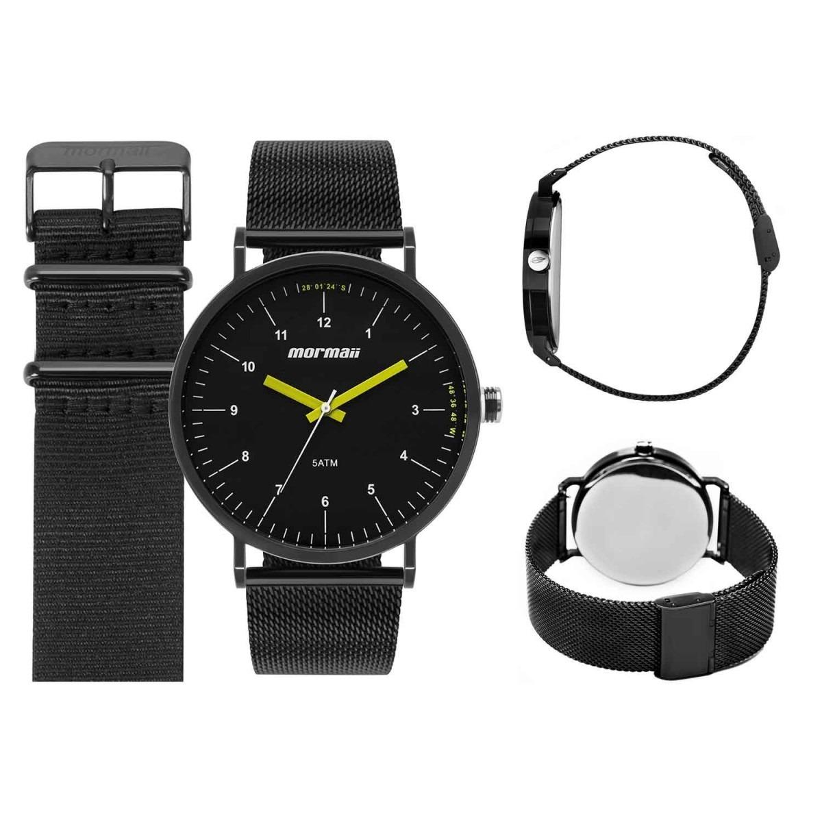 5224c6e1da25a kit relógio mormaii masculino preto 2 pulseiras mo1l32aa t4p. Carregando  zoom.