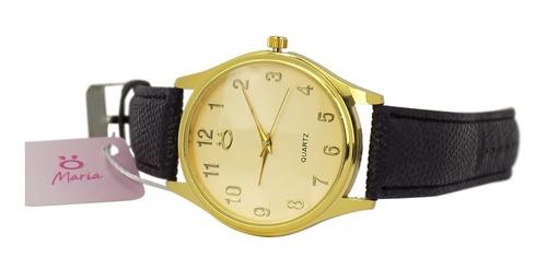 kit relógio orizom feminino dourado couro + caixa